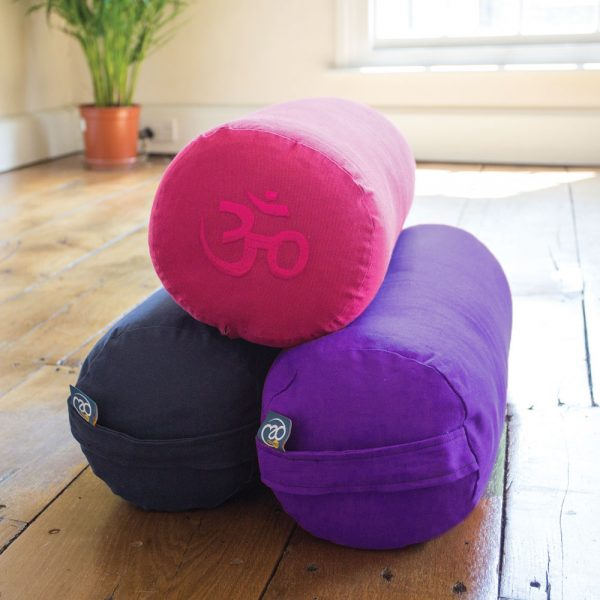 Coloured yoga boosters with OM symbol and handle