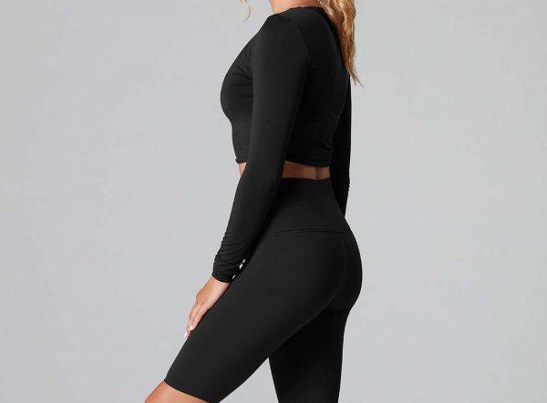Long Sleeve  Yoga Top Ebony