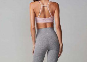 Pink yoga bra back view